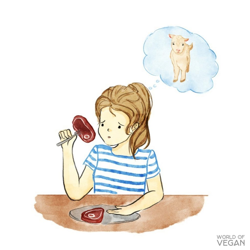 My Vegan Story | Vegan Art | Vegan Kids Illustration | WorldofVegan.com | #vegan #art #animals #meat #vegetarian #worldofvegan #watercolor