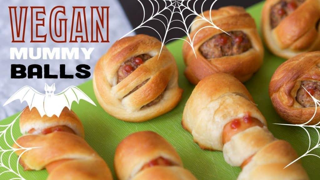 Vegan Halloween Recipe: Mummy Meatballs & Mummy Dogs