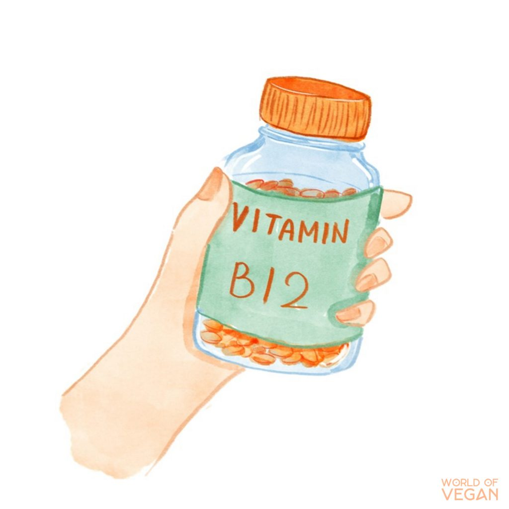 Vitamin B12 Illustration | Photo of a bottle of Vitamin B12 | World of Vegan | #nutrition #art #vegan #illustration
