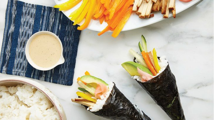 Vegan Sushi Rolls With Ginger-Tamari Sauce
