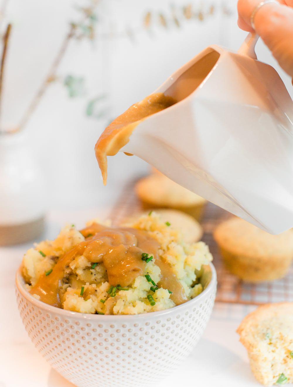 Vegan Gravy and Garlic Mashed Potatoes