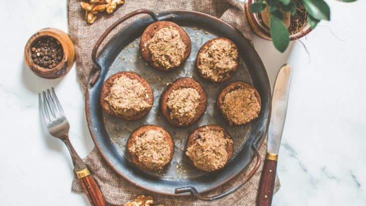 Vegan Stuffed Mushrooms With Crimini Walnut Pâté