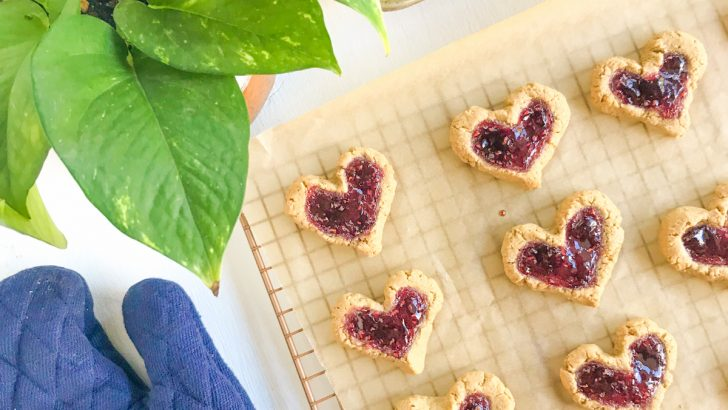 Peanut Butter & Jelly Vegan Thumbprint Cookies