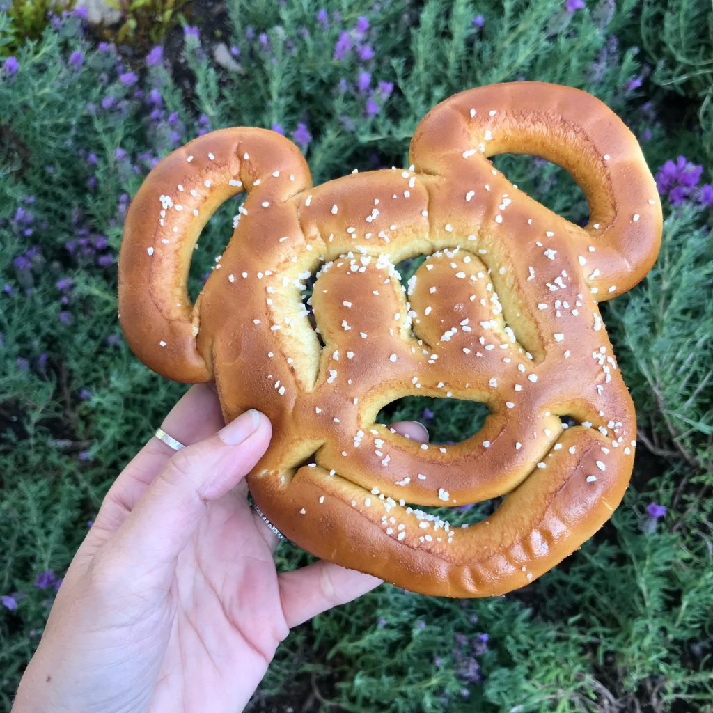 Vegan Mickey Mouse soft pretzel sold throughout Disneyland