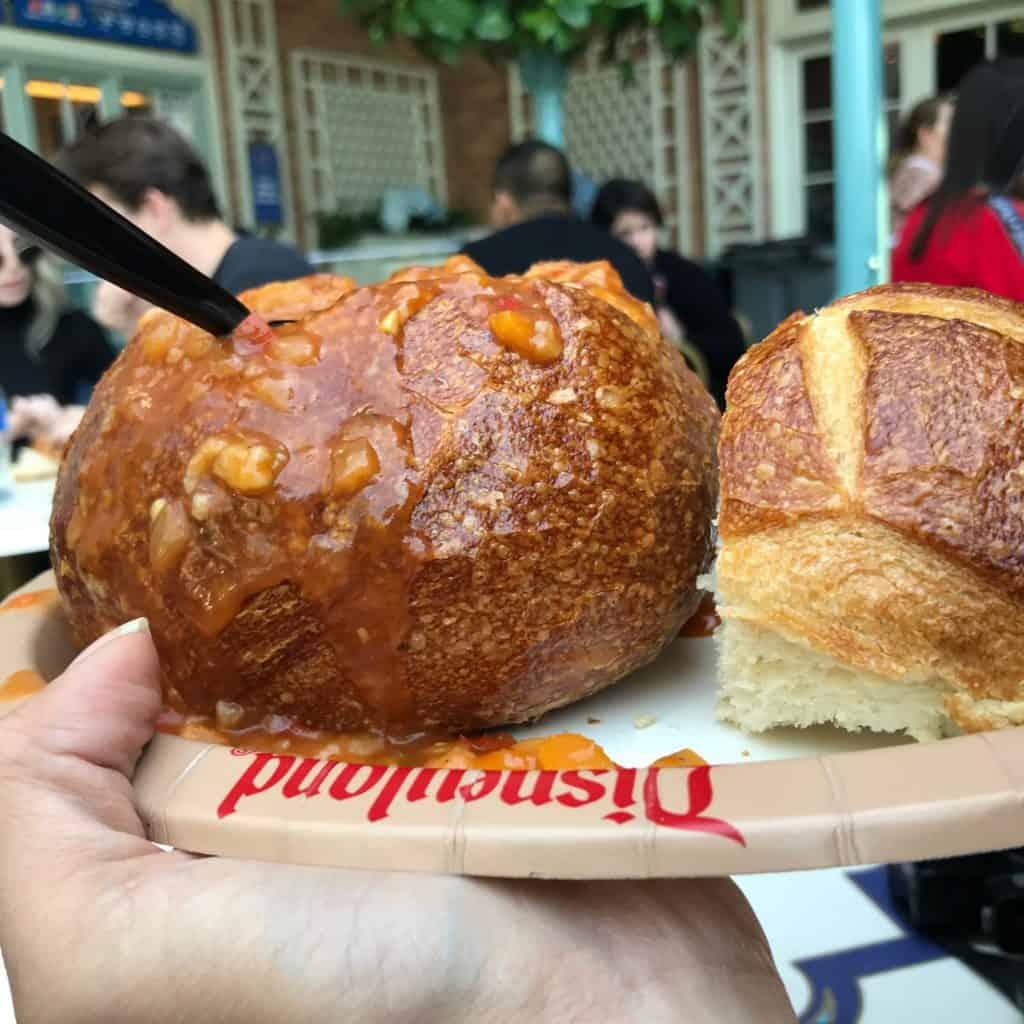 Vegan gumbo in a sourdough bread bowl from Royal St. Veranda in Disneyland
