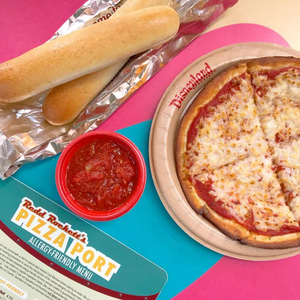 Vegan pizza and breadsticks at Pizza Port in Disneyland
