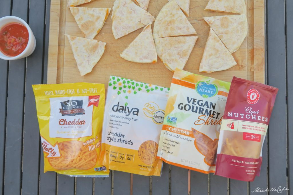 Vegan shredded cheddar cheeses from So Delicious, Daiya, Follow Your Heart, and Parmela