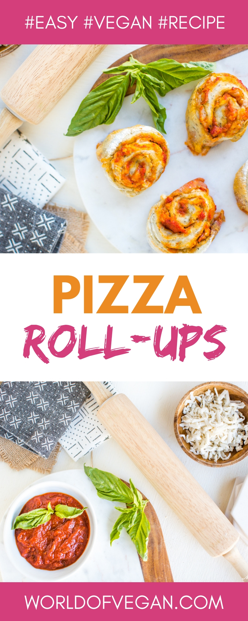Vegan Pizza Rolls | WorldofVegan.com #vegan #recipe #appetizer #pizza #vegetarian #party #kids