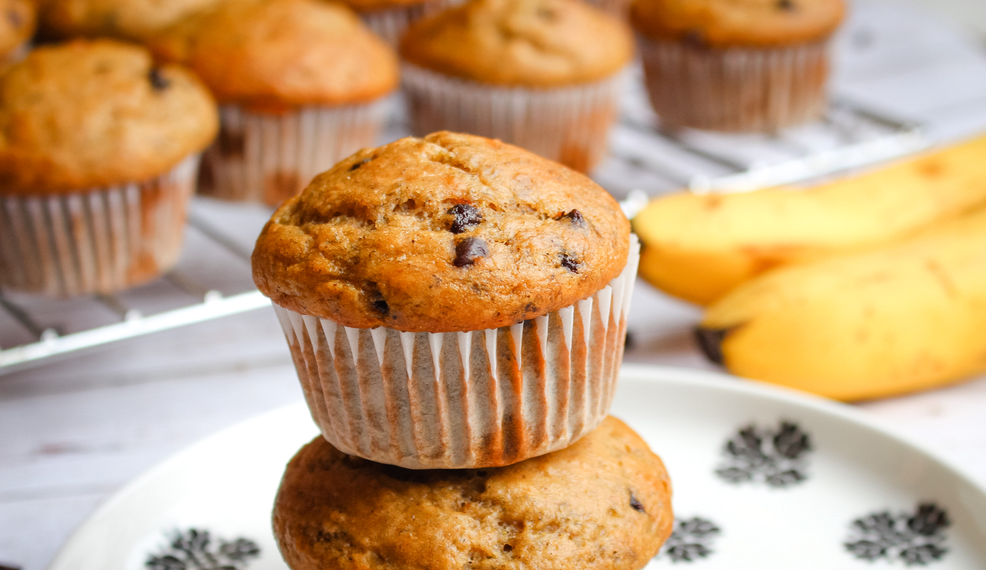 Vegan Fall Desserts: Chocolate Chip Banana Muffins | WorldofVegan.com #vegan #fall #dessert #recipe