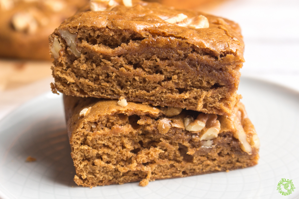 Walnut Maple Blondies | Easy Recipe | WorldofVegan.com