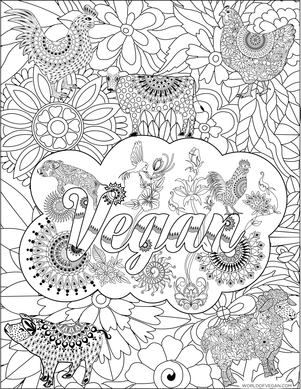 Vegan Zentangle | Printer-Friendly Adult Coloring Book | WorldofVegan.com #vegan #art #zentangle #mandala