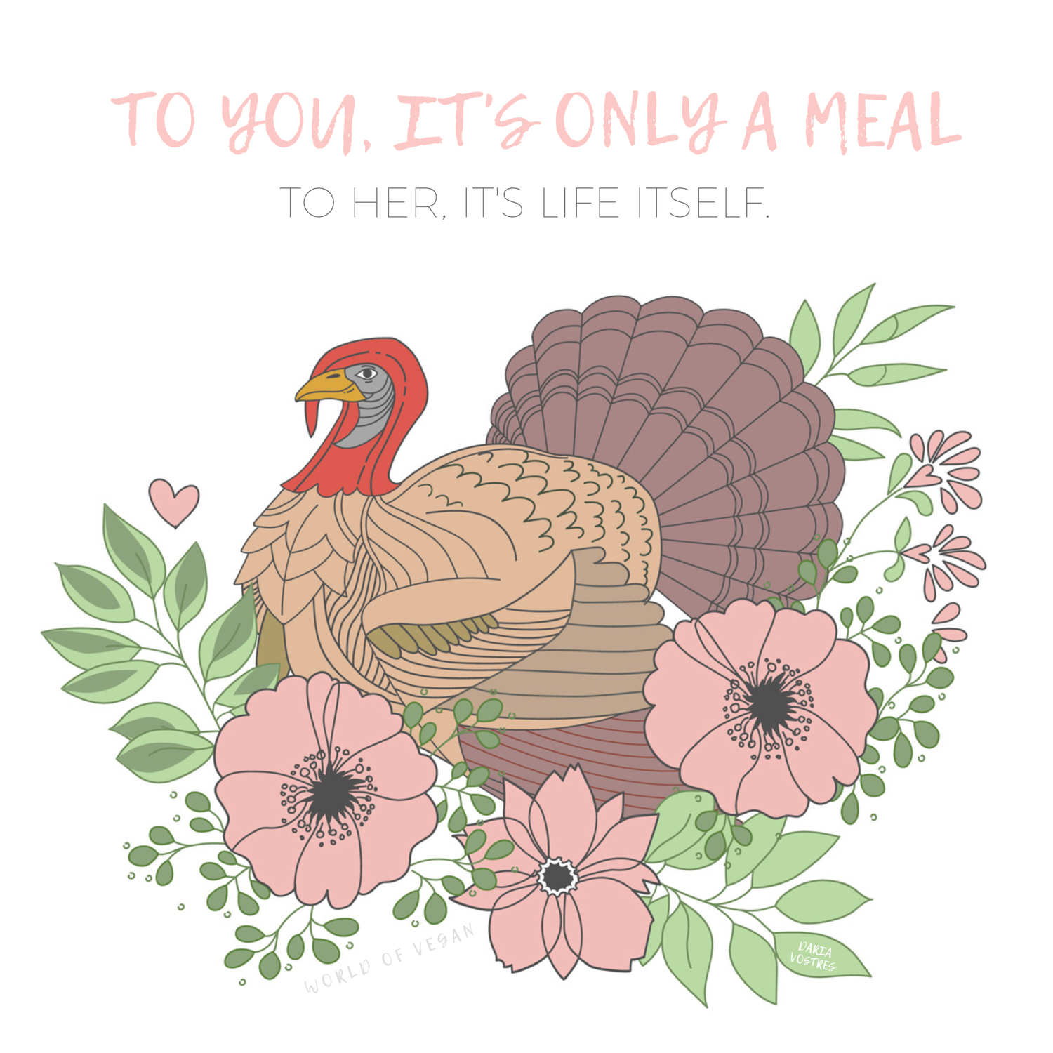 Celebrate A Vegan Thanksgiving | Turkey Artwork by Daria Vostres