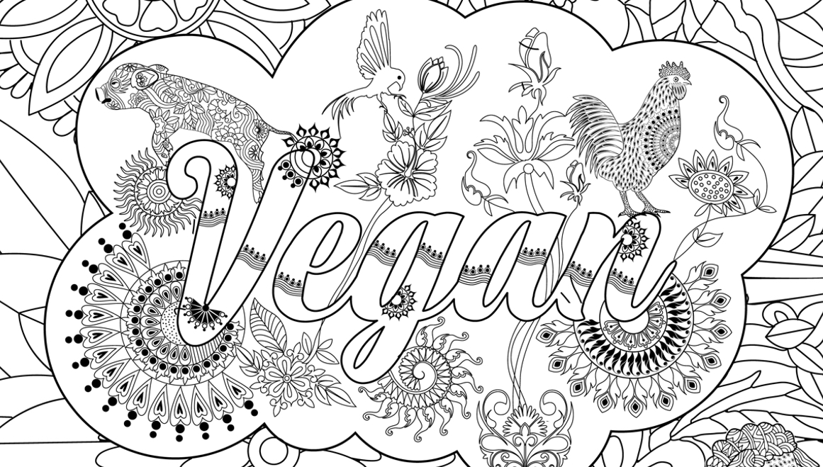 Printable Vegan Zentangle For Coloring Your Stress Away