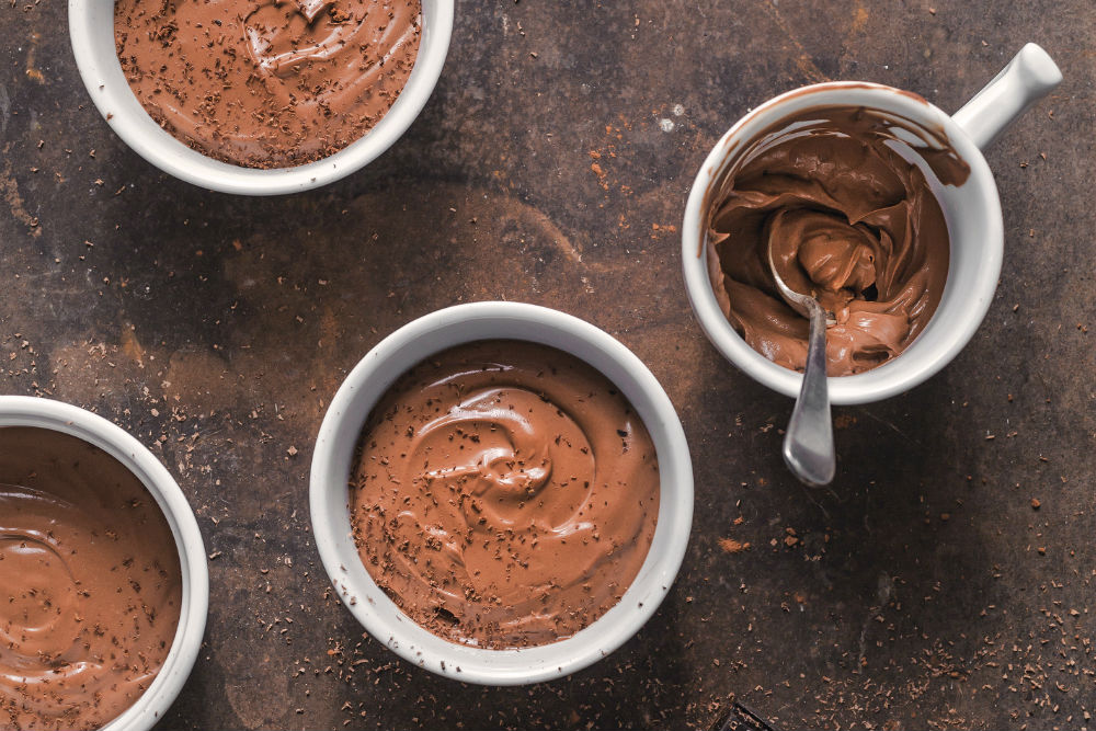 Silken Chocolate Peanut Butter Pots | Simple Vegan Dessert carnivore-friendly | WorldofVegan.com | #vegandessert #chocolate #peanutbutter #tofu