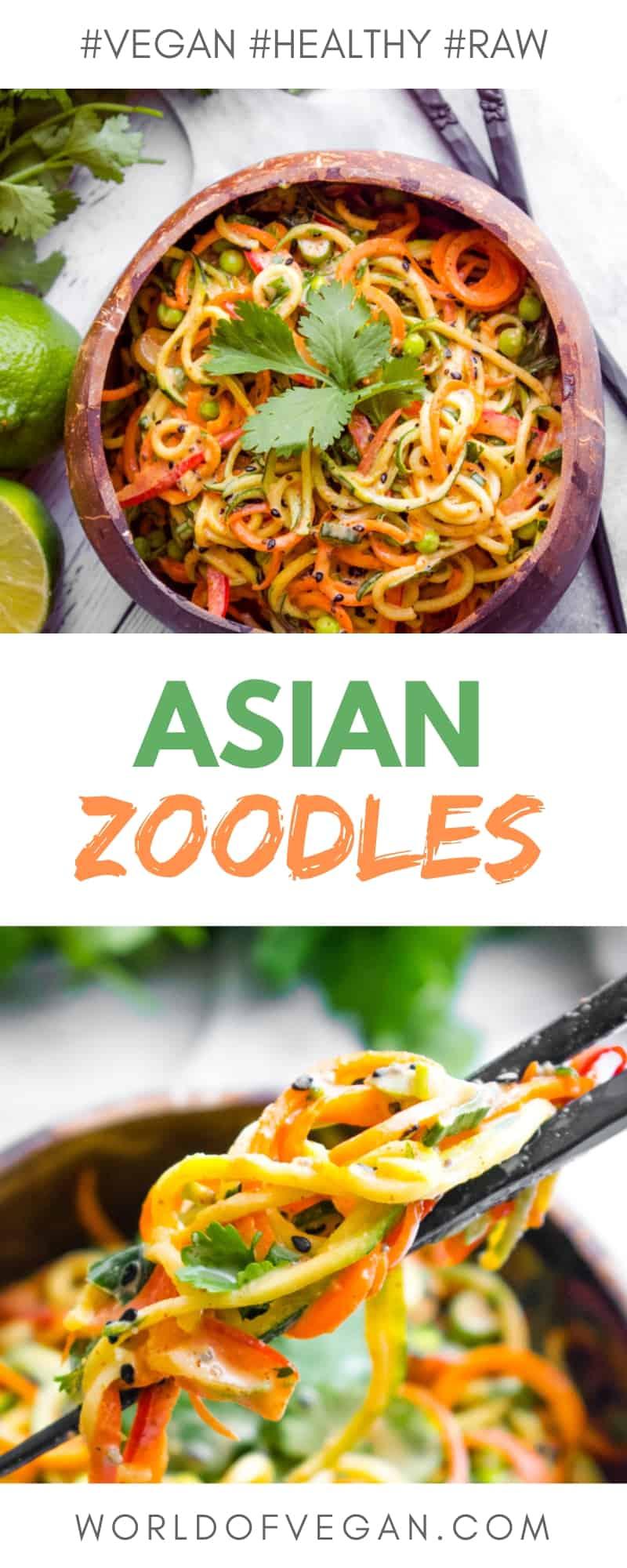 Asian-Style Zoodles | Healthy Veggie Noodle Salad | WorldofVegan.com | #vegan #raw #zoodles #zucchini #healthy #recipe #vegan #vegetarian #worldofvegan