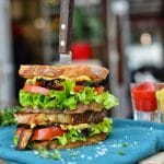 Vegan BLT Sandwich | Make Your Own Vegan Bacon | WorldofVegan.com | #vegan #eggplant #bacon #BLT #sandwich #plantbased #worldofvegan