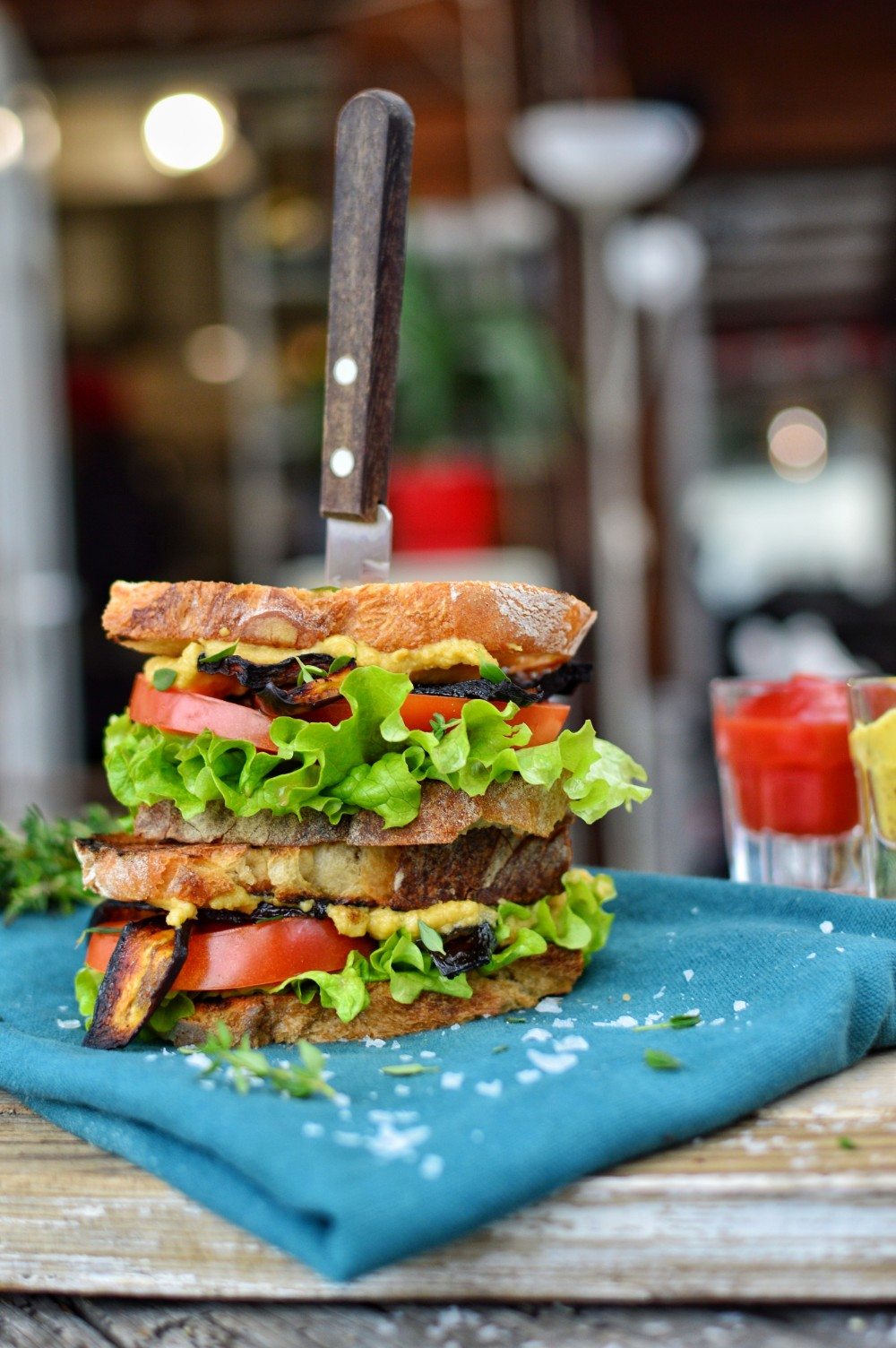 Eggplant Vegan Bacon | Make A Vegan BLT Sandwich | WorldofVegan.com | #veganbacon #eggplantbacon #veganblt #sandwich #vegansandwich