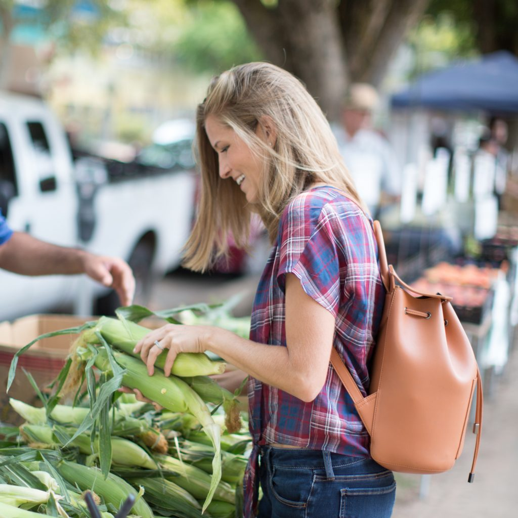 Michelle Cehn Farmers Market Corn Photo How to Go Vegan Guide