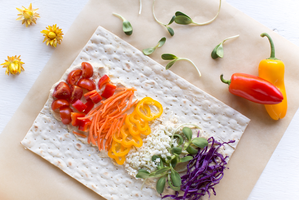 Rainbow Wraps Made With California Lavash and Veggies