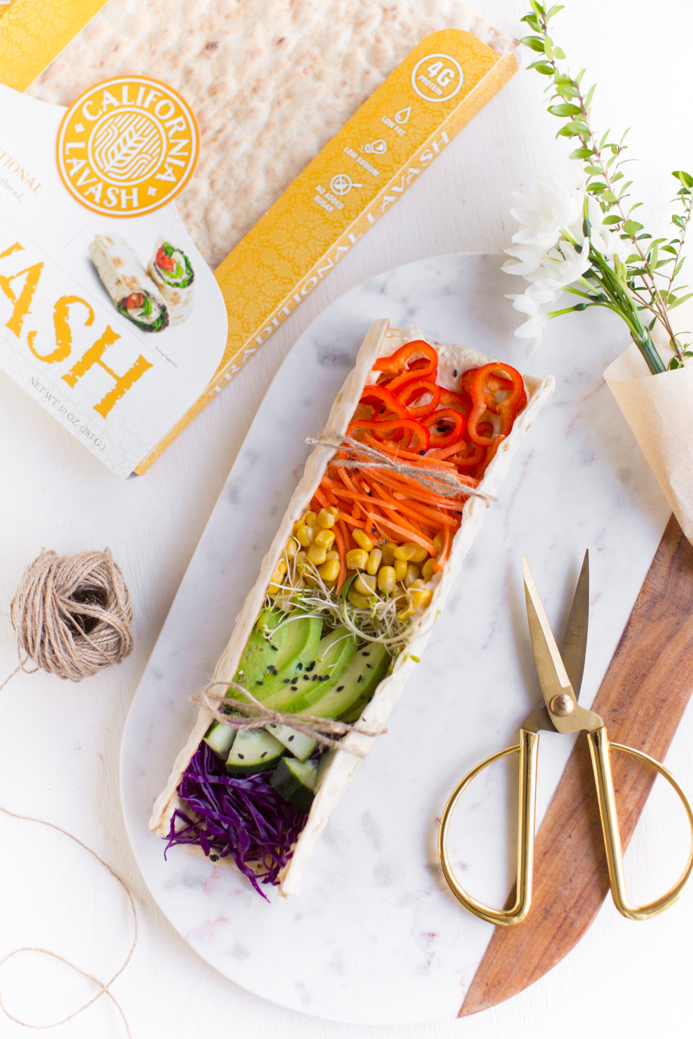 Rainbow Veggies | Lavash Wraps With Hummus & Colorful Vegetables | WorldofVegan.com | #lavash #rainbow #wrap #lunch #healthy #pride #colorful #recipe #worldofvegan