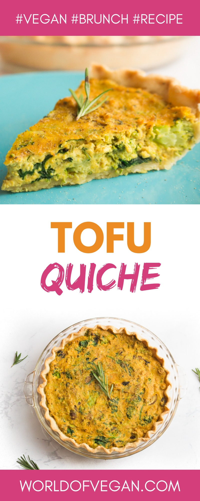Tofu Quiche | Delicious Plant-Based Brunch Recipe | WorldOfVegan.com | #vegan #brunch #tofu #recipe #breakfast #quiche