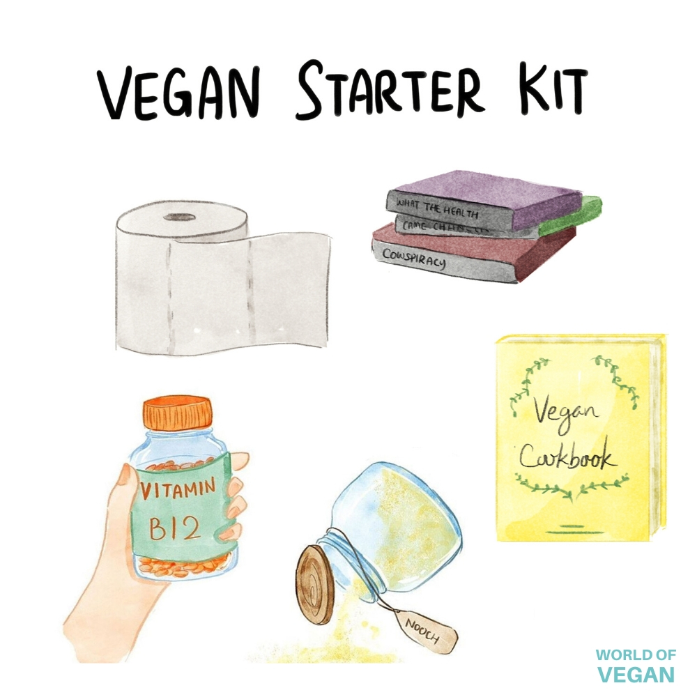 Vegan Starter Kit Art: Vegan Documentaries, Toilet Paper, Vitamin B12, Nutritional Yeast, Vegan Cookbook