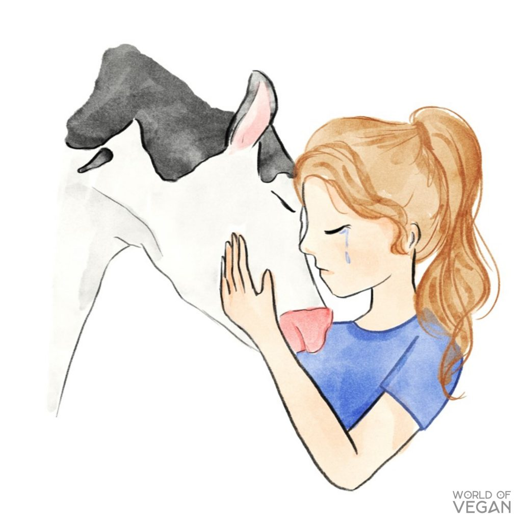 Cow Hug Illustration | Michelle Cehn | World of Vegan | Vegan Story | #vegan #watercolor #illustration #art #worldofvegan #animals #cows #vegetarian