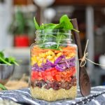 Rainbow Salad in a Jar | Easy Lunch On The Go | WorldofVegan.com | #salad #lunch #vegan #masonjar #zerowaste #quinoa #budget