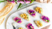 Colorful Hummus Crostini | Easy Vegan Appetizer