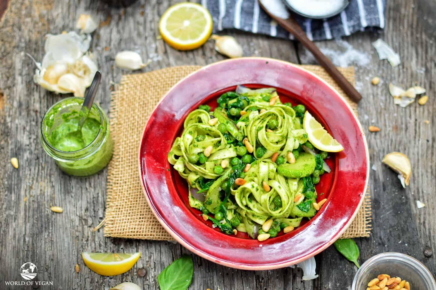 Classic Pesto Recipe   WorldofVegan.com   #pesto #pasta #vegan #vegetarian #italian #basil #recipe
