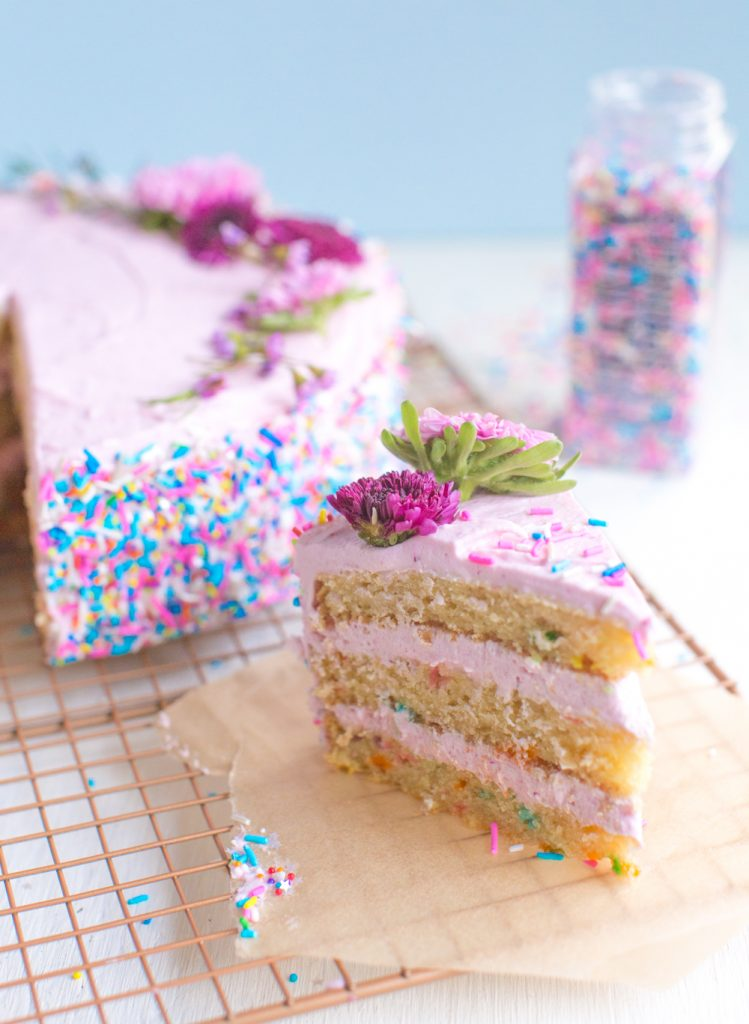 Vegan Confetti Cake With Fancy Sprinkles | WorldofVegan.com | #vegan #baking #cake #dessert #birthday #holiday #diy #food #vegetarian