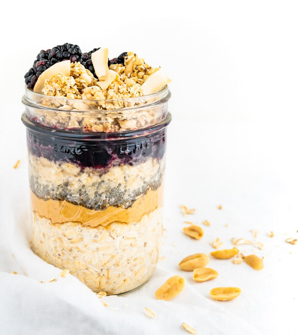 Peanut Butter & Jelly Overnight Oats | Easy Vegan Breakfast | WorldofVegan.com | #vegan #oats #breakfast #oatmeal #vegetarian #healthy