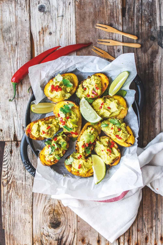 Grilled Potato Skins Recipe | Vegan Barbecue Recipe | Worldofvegan.com | #vegan #barbecue #potatos #skins #grilled #worldofvegan