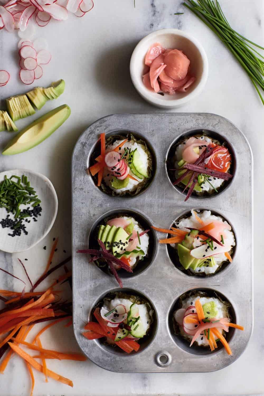 Vegan Sushi Cupcakes | Worldofvegan.com | #sushi #vegan #cupcakes #lunch #worldofvegan #appetizer
