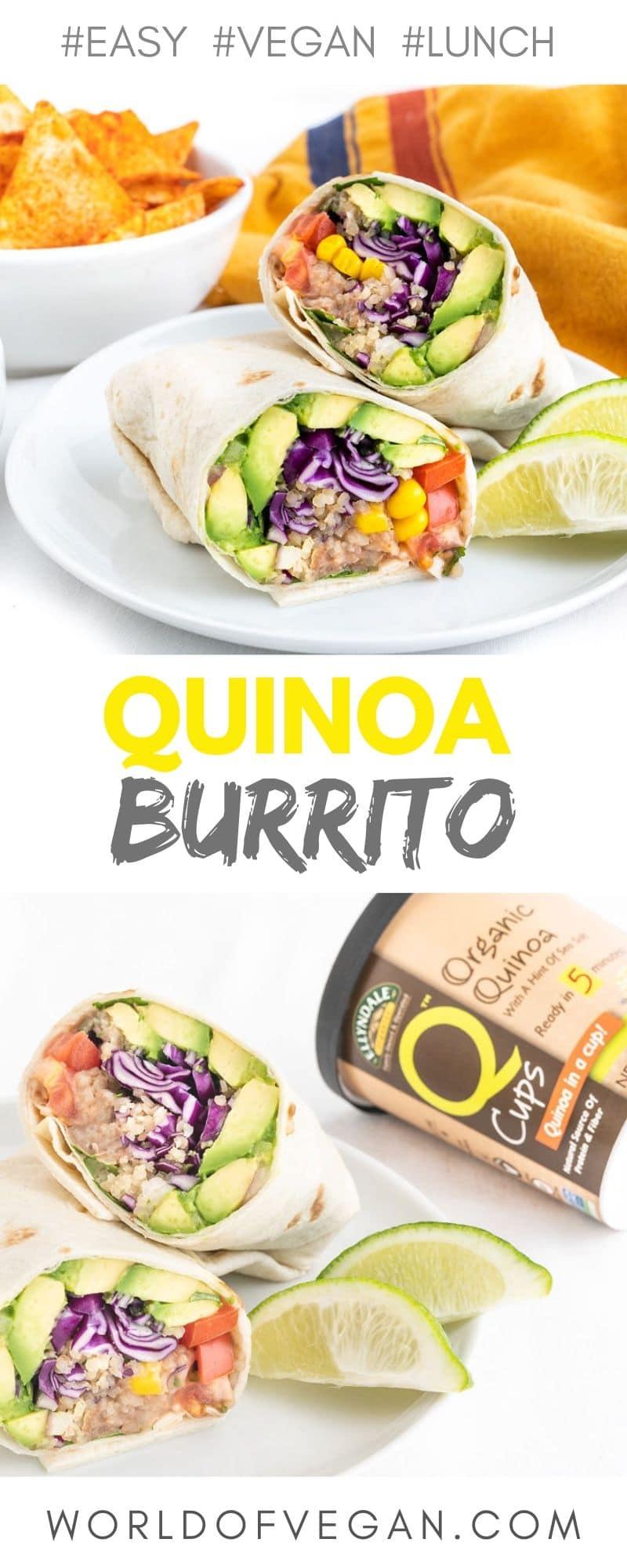 Easy Vegan Burrito   WorldofVegan.com #vegan #vegetarian #healthy #lunch #burrito #mexican