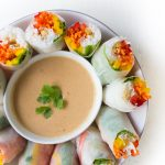 Rainbow Spring Rolls With Peanut Dipping Sauce World of Vegan
