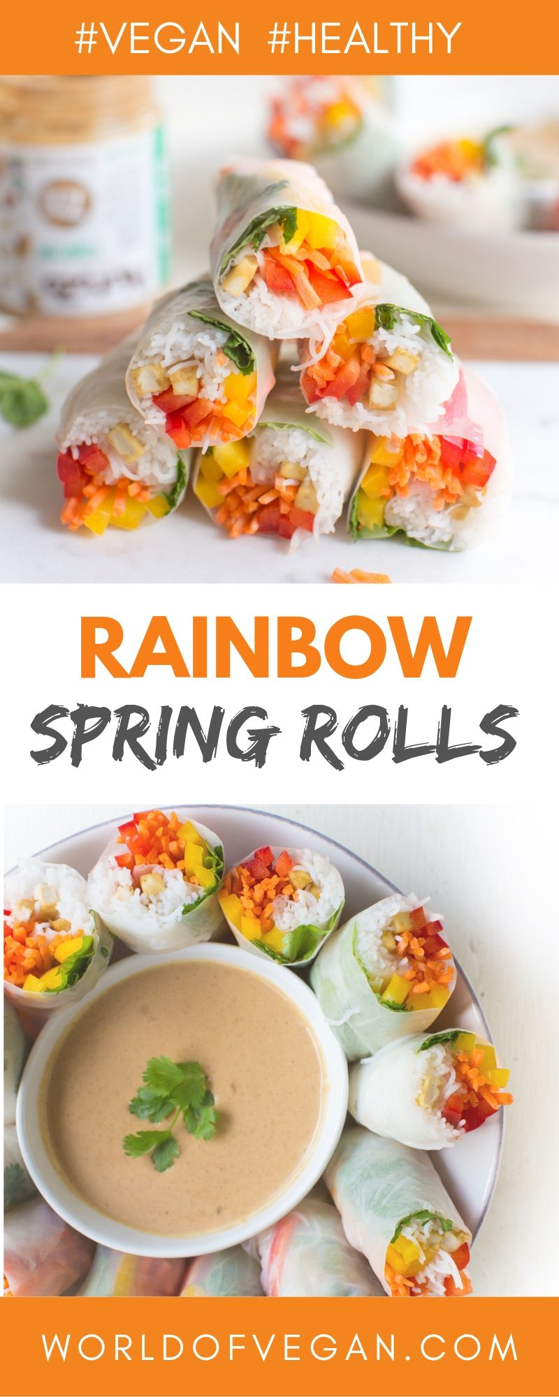 Rainbow Spring Rolls With Peanut Dipping Sauce | World of Vegan | WorldofVegan.com #vegan #vegetarian #healthy #lunch