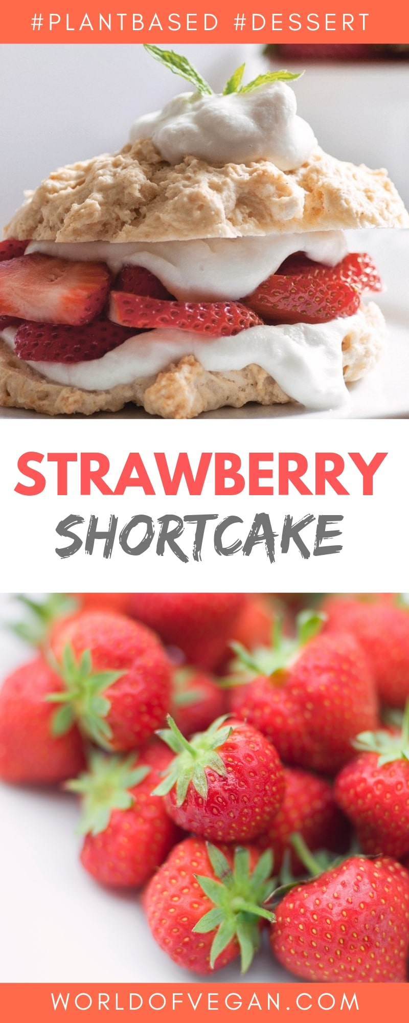 Easy Vegan Strawberry Shortcake Recipe | WorldofVegan.com | #shortcake #cake #picnic #strawberry #tea #party #worldofvegan