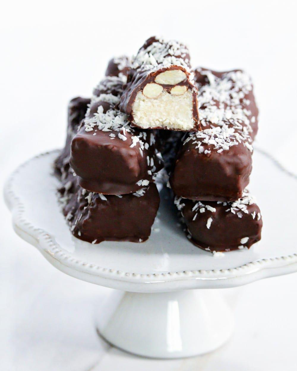 Vegan Almond Joy Bars Recipe   Vegan Dessert   World of Vegan   #almond #dessert #candy #bar #coconut #almonjoy #vegan #worldofvegan