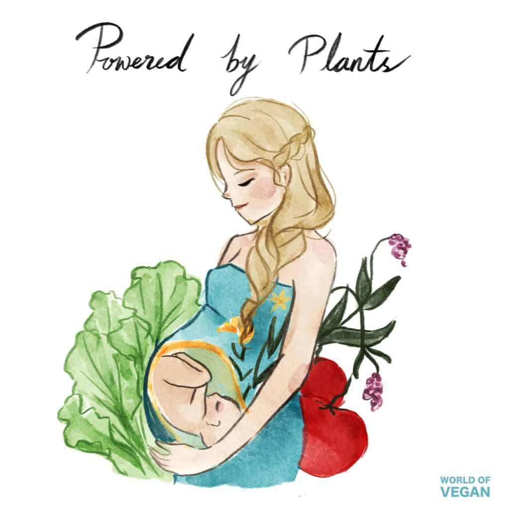 Vegan Pregnancy Art Illustration | Plant Based | WorldofVegan.com