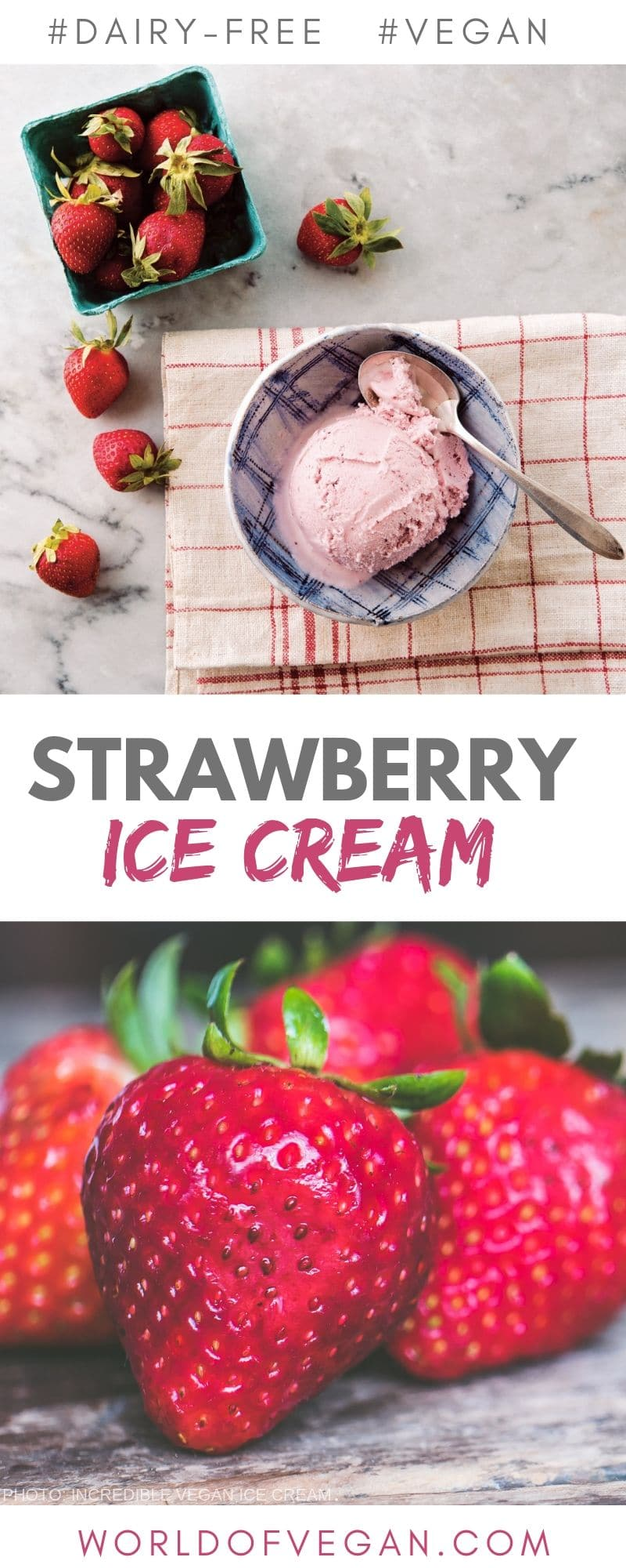 Fresh Vegan Strawberry Ice Cream Recipe | World of Vegan | #strawberry #icecream #vegan #homemade #treat #dessert #worldofvegan