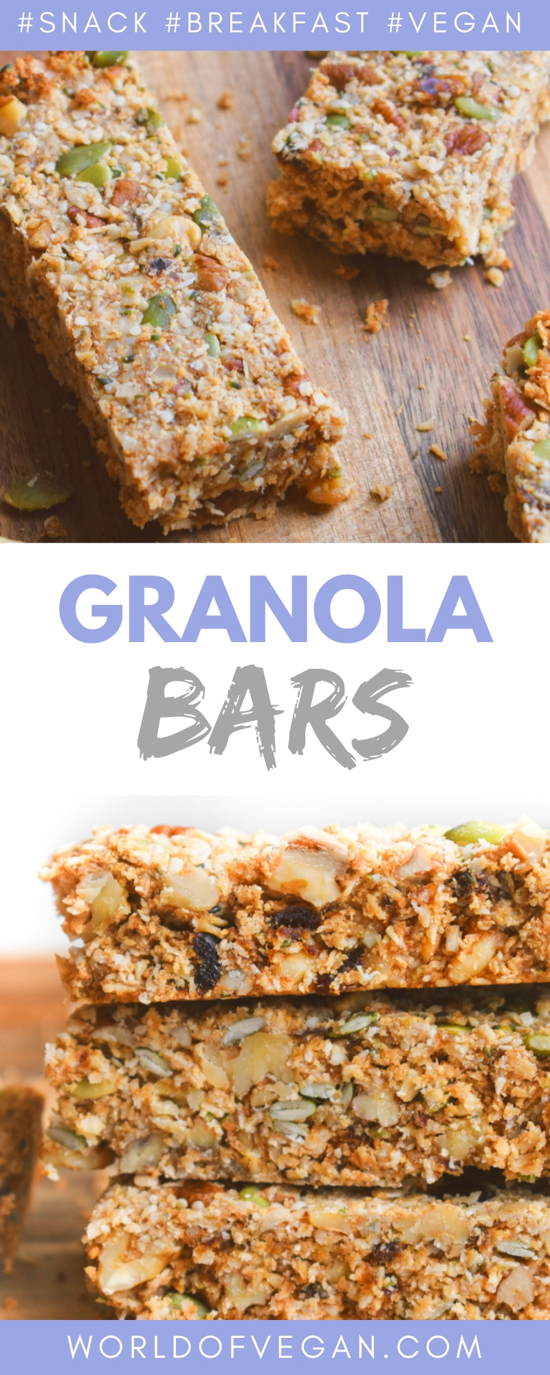 Homemade Granola Bars | Healthy Snack On The Go | World of Vegan | #granola #bars #snack #vegan #breakfast #fall #worldofvegan