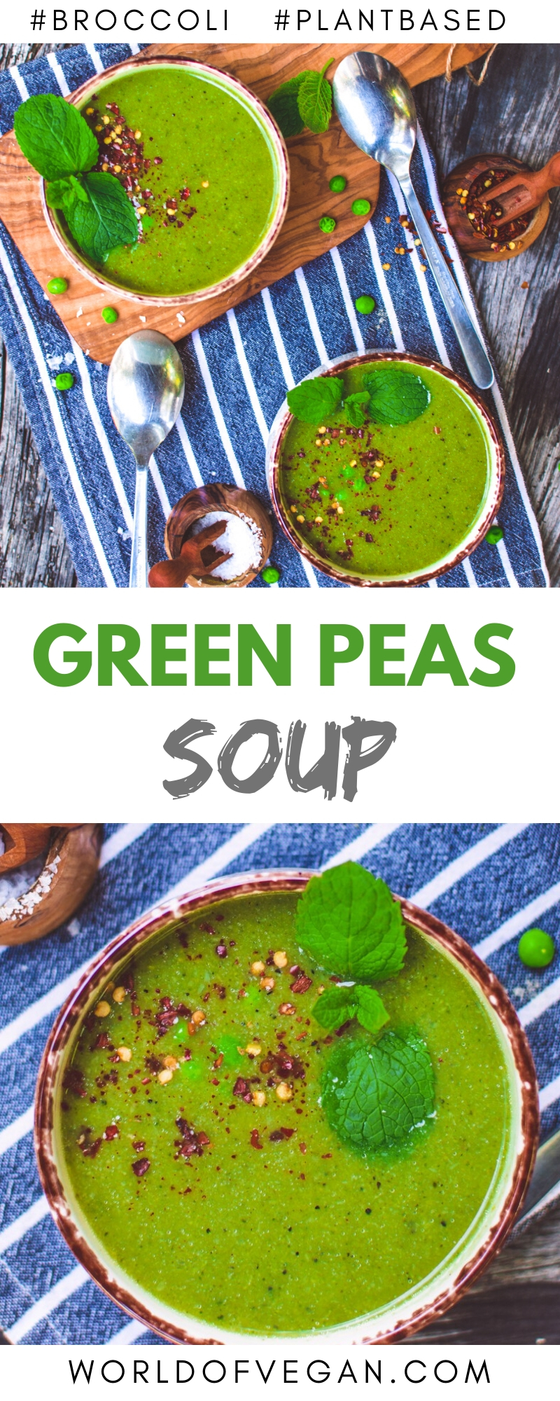 Pea & Broccoli Soup Recipe | Super-Easy Vegan Dinner | #peas #broccoli #soup #winter #fall #worldofvegan