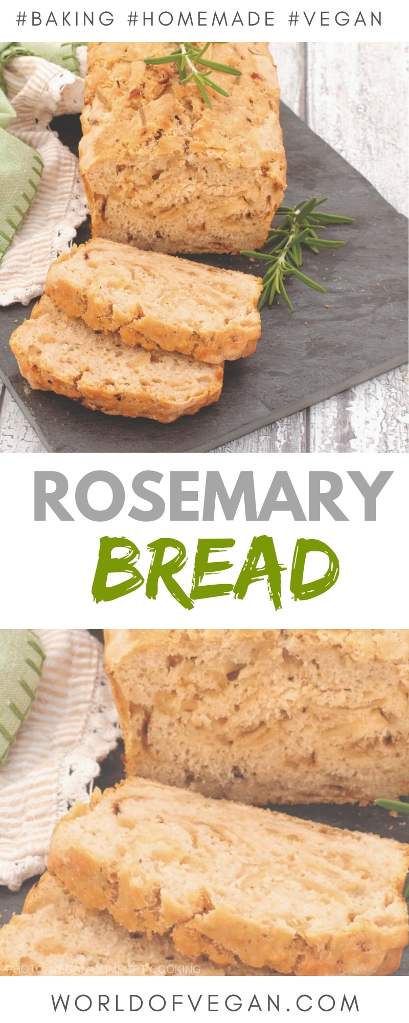 Rosemary Beer Bread Recipe | Homemade Bread | World of Vegan | #bread #rosemary #beer #homemade #baking #vegan #worldofvegan