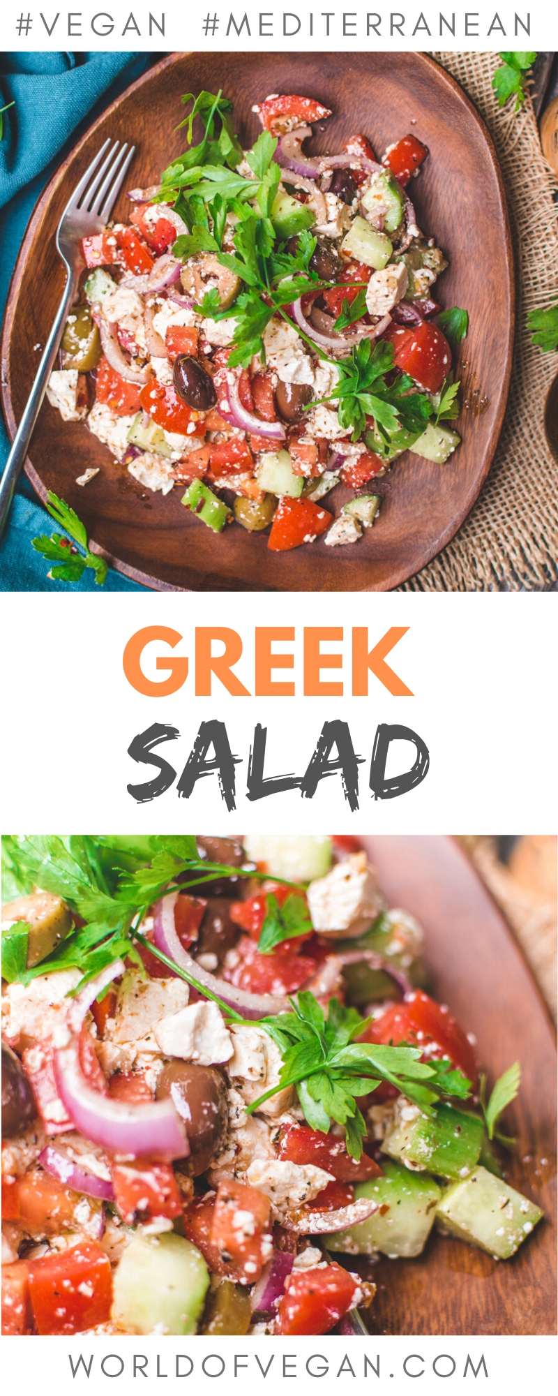 Vegan Greek Salad with Mediterranean Tofu | World of Vegan | #greek #salad #feta #tofu #marinated #mediterranean #worldofvegan