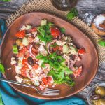 Vegan Greek Salad with Mediterranean Tofu | World of Vegan | #greek #salad #feta #tofu #marinated #mediterranean #worldofvegan