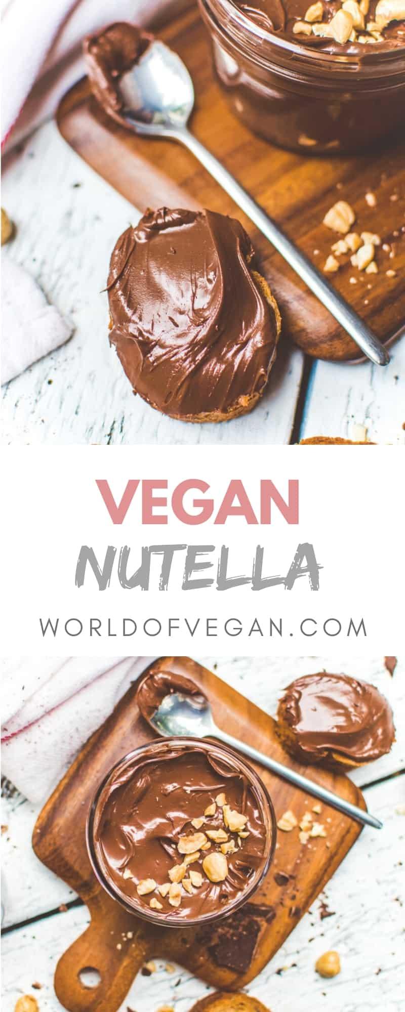 Homemade Vegan Nutella | Chocolate Spread | World of Vegan | #nutella #vegan #recipe #homemade #diy #chocolate #hazelnuts #worldofvegan