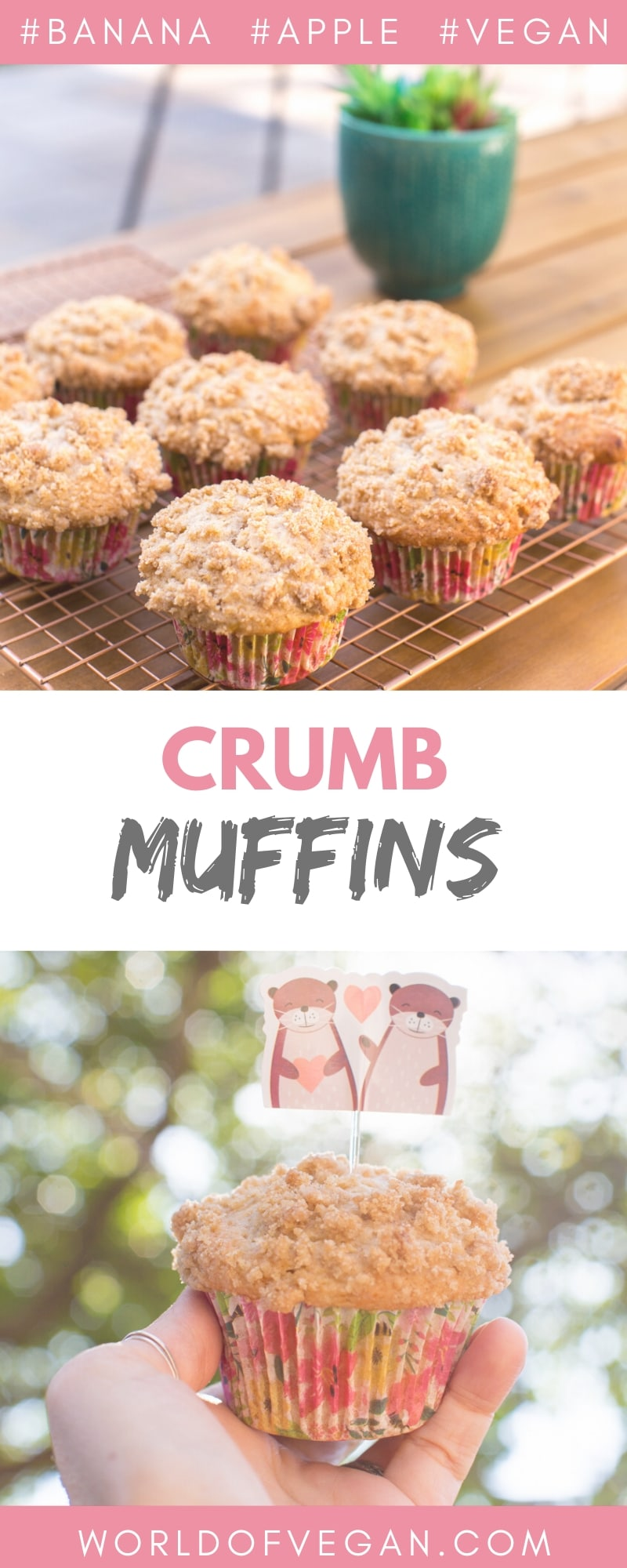Vegan Crumb Muffins With Apple Cinnamon & Banana | WorldofVegan.com #vegan #muffins #dessert #breakfast