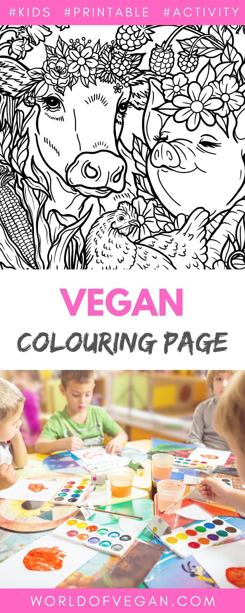 Vegan Coloring Book for Kids - Small Preview - WorldofVegan.com | #kids #vegan #art #colouring #activity #mindfulness #worldofvegan