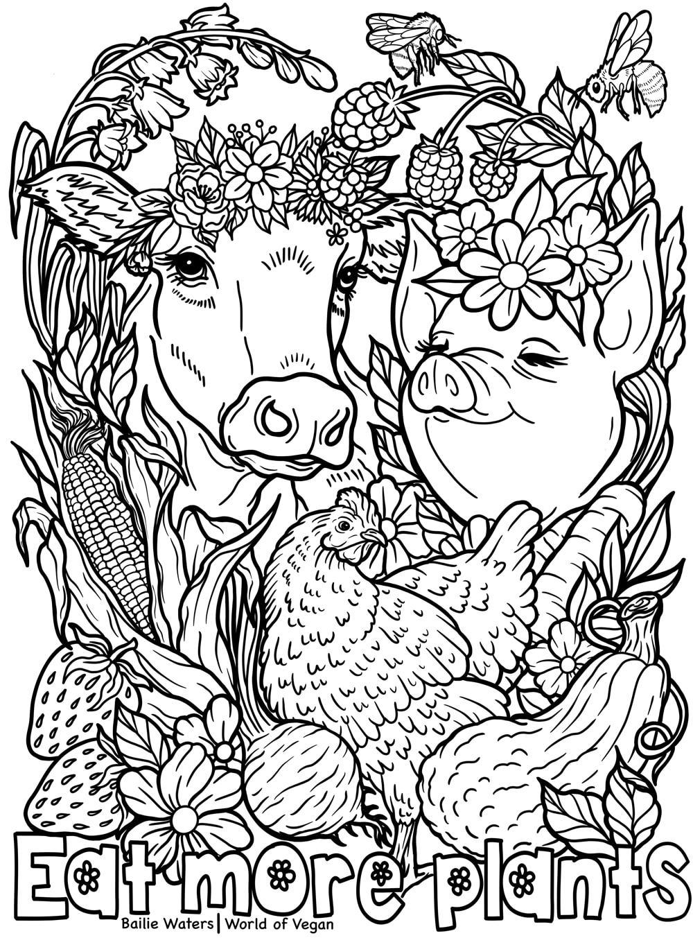 World of Vegan | Eat More Plants Printable Vegan Coloring ...